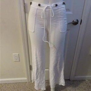 ELLA MOSS WHITE COTTON WIDE LEG PANTS SIZE S